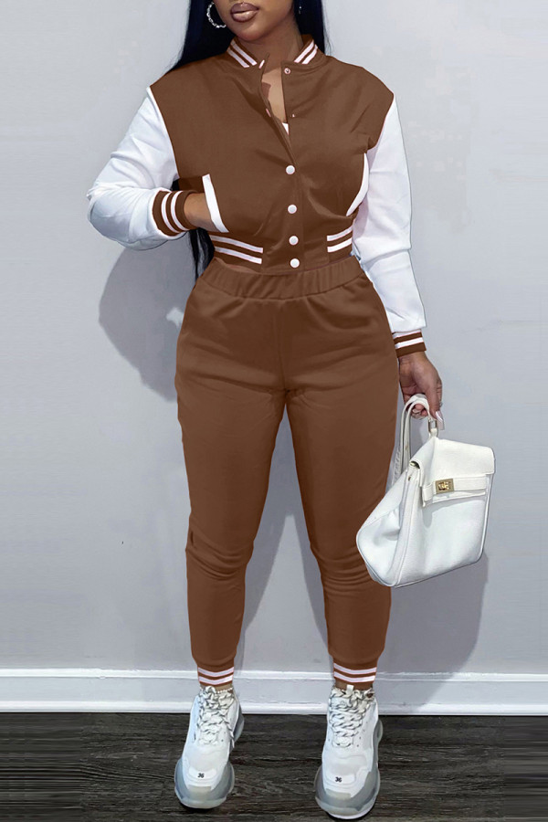 Coffee Fashion Casual Patchwork Cardigan Pants Long Sleeve Two Pieces
