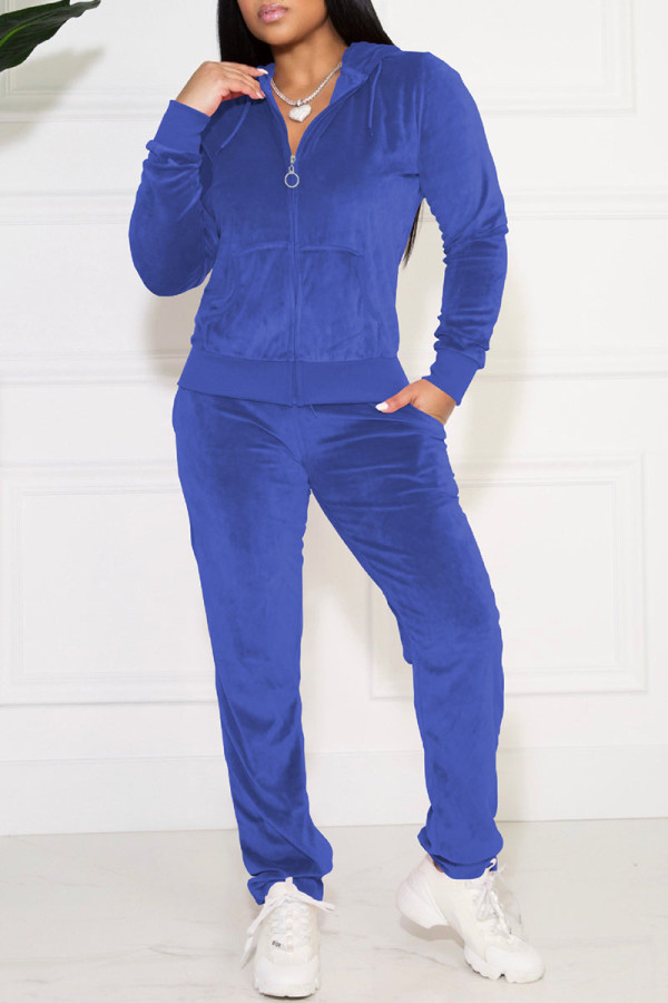 Blue Casual Solid Pocket Hooded Collar Long Sleeve Two Pieces