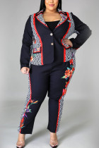 Black Work Daily Print Embroidered Pocket Buttons Turn-back Collar Plus Size