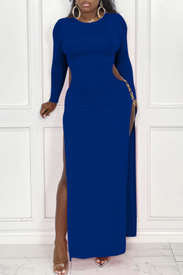 Blue Sexy Solid Hollowed Out Split Joint Metal Accessories Decoration Slit O Neck Straight Dresses