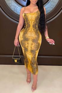 Yellow Fashion Sexy Print Backless Spaghetti Strap Long Dress