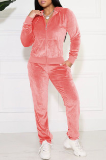 Deep Pink Casual Solid Pocket Hooded Collar Long Sleeve Two Pieces