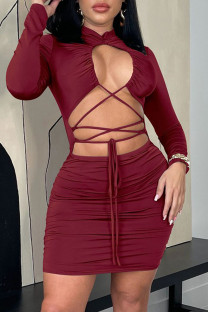 Burgundy Fashion Sexy Solid Hollowed Out O Neck Long Sleeve Dresses