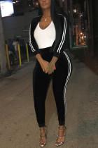 Black Sportswear Striped Split Joint O Neck Long Sleeve Two Pieces