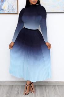 Blue Casual Elegant Gradual Change Split Joint Fold Half A Turtleneck Long Sleeve Two Pieces