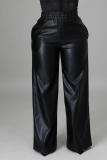 Black Casual Solid Split Joint Straight Mid Waist Wide Leg Solid Color Bottoms