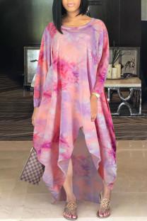 Pink Casual Print Tie Dye Split Joint Asymmetrical O Neck Irregular Dress Dresses