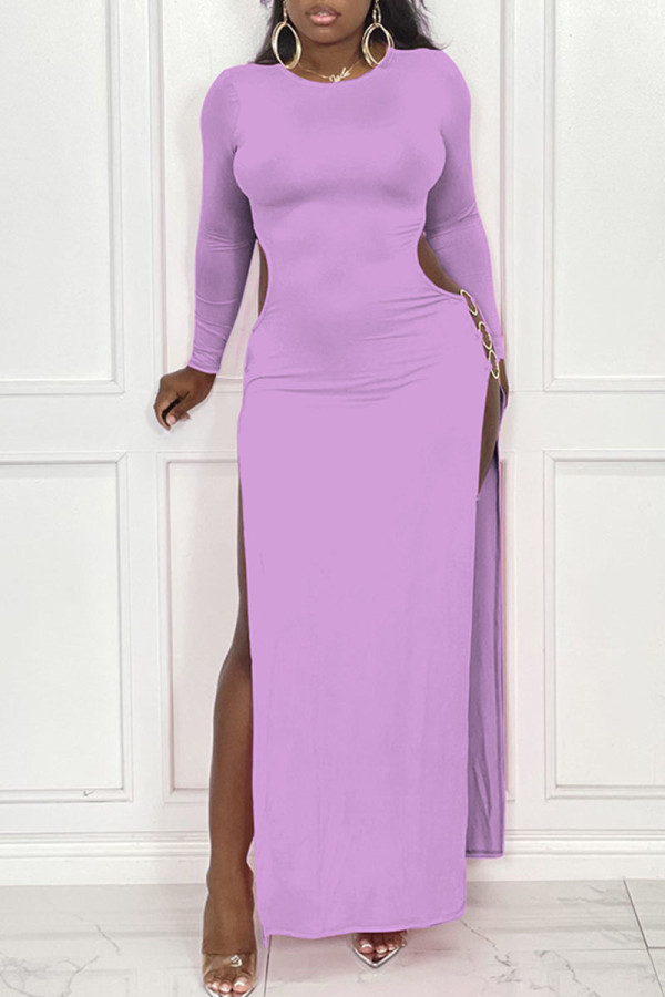 Purple Sexy Solid Hollowed Out Split Joint Metal Accessories Decoration Slit O Neck Straight Dresses