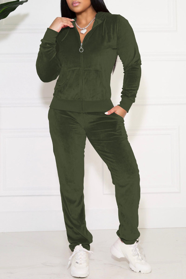 Dark Green Casual Solid Pocket Hooded Collar Long Sleeve Two Pieces