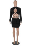 Black Fashion Sexy Solid Hollowed Out O Neck Long Sleeve Dresses