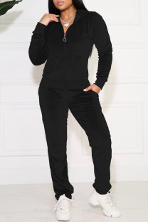 Black Casual Solid Pocket Hooded Collar Long Sleeve Two Pieces