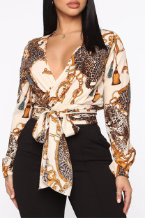 Apricot Fashion Casual Print Bandage V Neck Tops