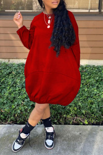 Red Casual Solid Split Joint O Neck Dresses
