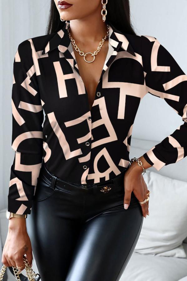 Black Pink Casual Print Split Joint Buckle Turndown Collar Tops
