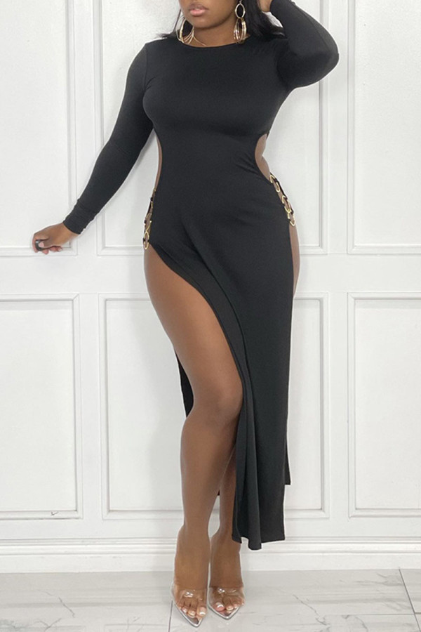 Black Sexy Solid Hollowed Out Split Joint Metal Accessories Decoration Slit O Neck Straight Dresses