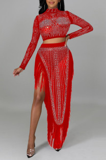 Red Sexy Solid Tassel Split Joint See-through Asymmetrical Hot Drill Half A Turtleneck Long Sleeve Two Pieces