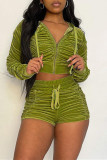 Green Fashion Casual Solid Fold Zipper Collar Long Sleeve Two Pieces
