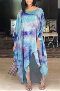 Sky Blue Casual Print Tie Dye Split Joint Asymmetrical O Neck Irregular Dress Dresses
