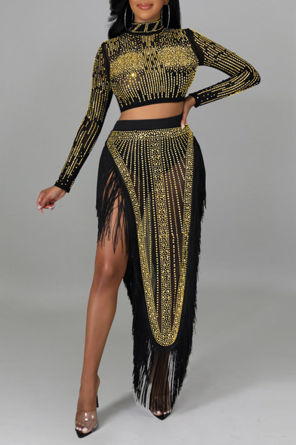 Gold Sexy Solid Tassel Split Joint See-through Asymmetrical Hot Drill Half A Turtleneck Long Sleeve Two Pieces