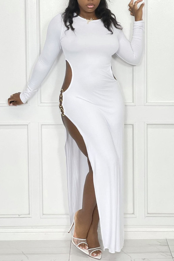 White Sexy Solid Hollowed Out Split Joint Metal Accessories Decoration Slit O Neck Straight Dresses