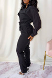 Black Casual Street Solid Split Joint Buttons Turndown Collar Straight Jumpsuits