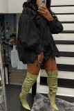 Red Street Solid Split Joint Draw String Fold O Neck Lantern Skirt Dresses
