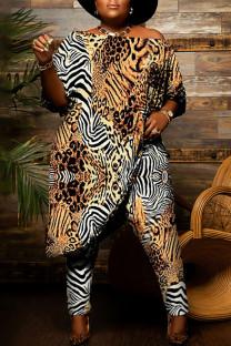 Khaki Fashion Casual Print Asymmetrical Off the Shoulder Plus Size Two Pieces
