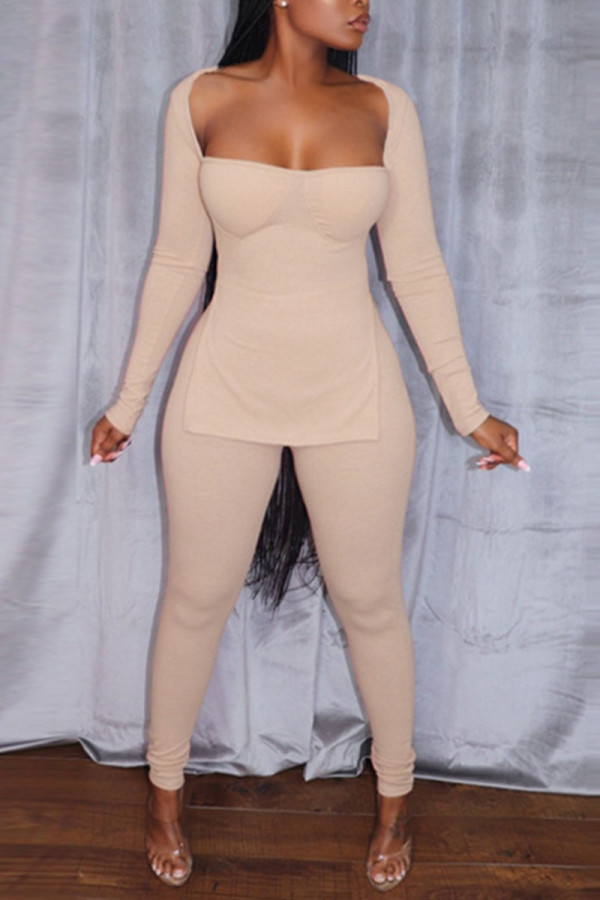 Apricot Sexy Solid Split Joint Slit Square Collar Long Sleeve Two Pieces