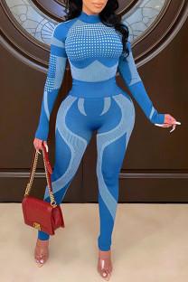 Sky Blue Casual Sportswear Print Split Joint Half A Turtleneck Long Sleeve Two Pieces