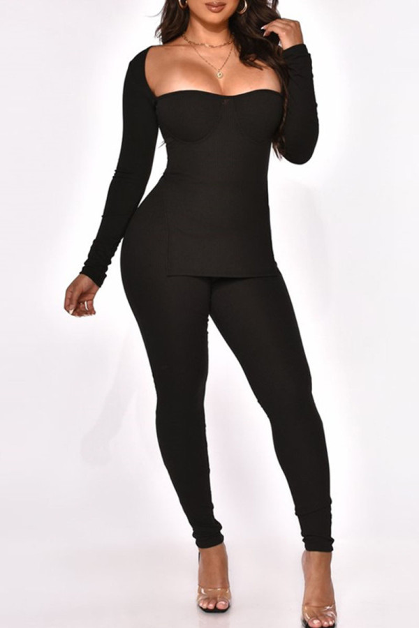 Black Sexy Solid Split Joint Slit Square Collar Long Sleeve Two Pieces
