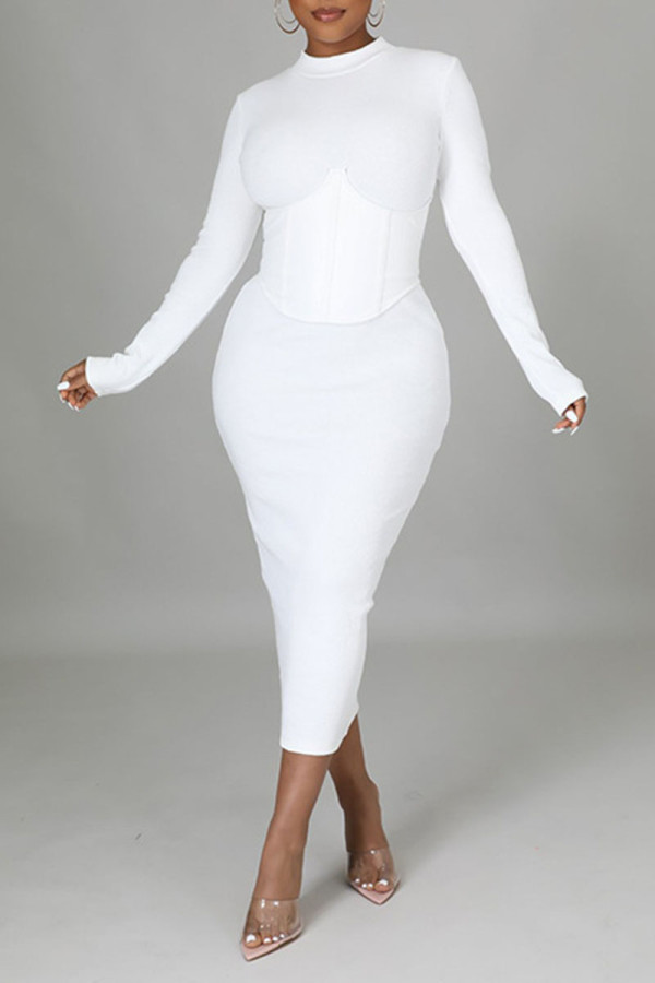 White Casual Solid Split Joint Half A Turtleneck One Step Skirt Dresses