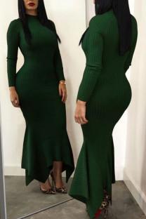 Green Casual Solid Split Joint Fold Asymmetrical Half A Turtleneck Trumpet Mermaid Dresses