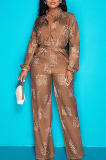 Brown Casual Print Split Joint Buckle Turndown Collar Long Sleeve Two Pieces