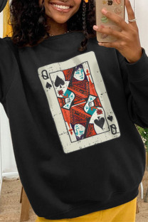 Black Fashion Casual Print Split Joint O Neck Tops