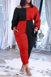 Red Black Casual Solid Split Joint Pocket Oblique Collar Plus Size Jumpsuits
