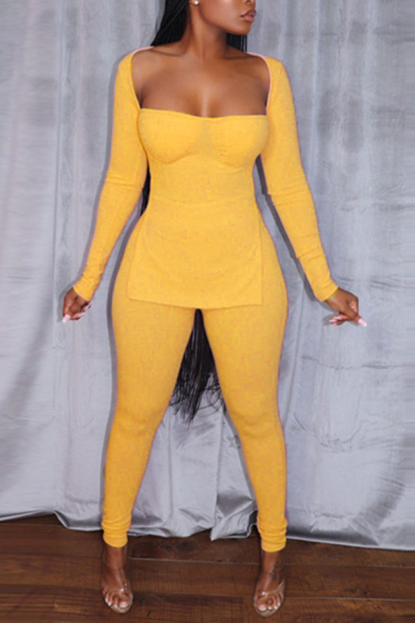 Yellow Sexy Solid Split Joint Slit Square Collar Long Sleeve Two Pieces