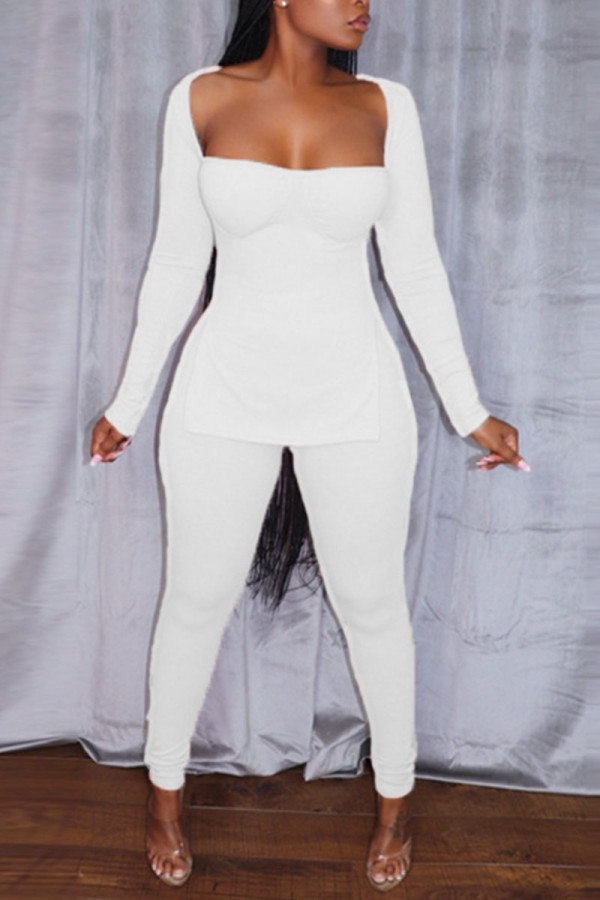 White Sexy Solid Split Joint Slit Square Collar Long Sleeve Two Pieces