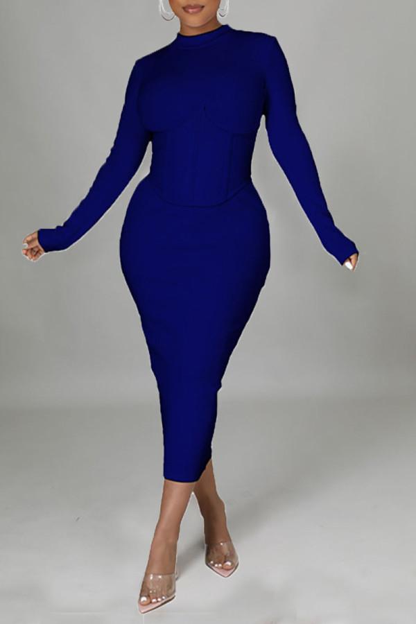 Deep Blue Casual Solid Split Joint Half A Turtleneck One Step Skirt Dresses