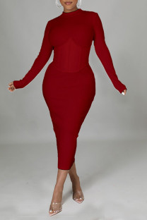 Red Casual Solid Split Joint Half A Turtleneck One Step Skirt Dresses