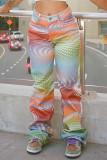 Colour Fashion Casual Print Basic Regular Mid Waist Trousers