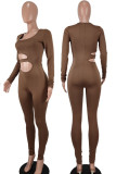 Brownness Sexy Solid Hollowed Out Split Joint O Neck Skinny Jumpsuits