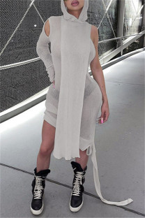 Grey Fashion Casual Solid Split Joint Asymmetrical Hooded Collar Long Sleeve Dresses