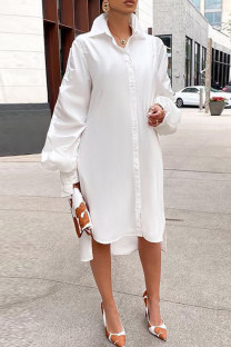 White Fashion Casual Solid Slit Turndown Collar Long Sleeve Shirt Dress