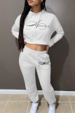 White Fashion Casual Print Basic Hooded Collar Long Sleeve Two Pieces