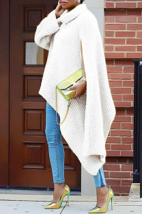 White Fashion Casual Solid Slit Turtleneck Tops