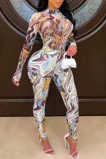 Colour Sexy Print Split Joint O Neck Long Sleeve Two Pieces