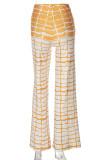 Brown Fashion Casual Print Basic Regular High Waist Trousers