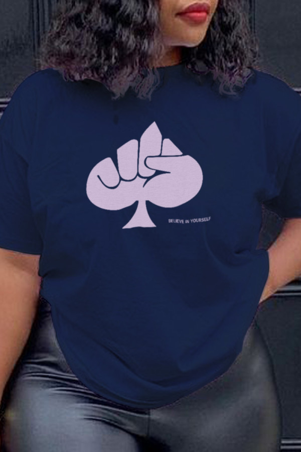 Navy Blue Fashion Daily Print Split Joint O Neck T-Shirts
