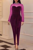 Purple Fashion Sexy Patchwork Slit Beading Half A Turtleneck Long Sleeve Dresses