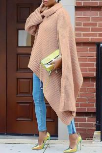 Pink Fashion Casual Solid Slit Turtleneck Tops